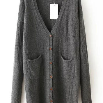 Grey Long Sleeve Buttons Cardigan Sweater