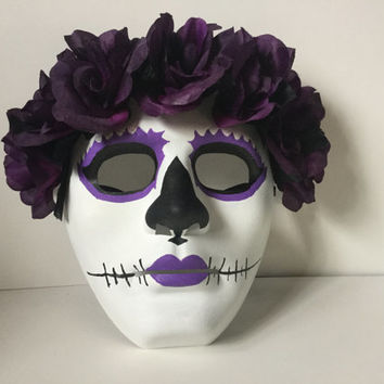 Mask,Skull Mask, Halloween Mask, Purple Flowered Skull Mask,Day of Dead Mask, Halloween Skull Mask, Hand Made Mask, Skull Halloween Mask