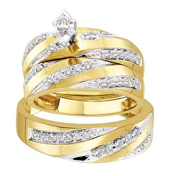 10kt Yellow Gold His & Hers Marquise Diamond Solitaire Matching Bridal Wedding Ring Band Set 3/4 Cttw - FREE Shipping (US/CAN)