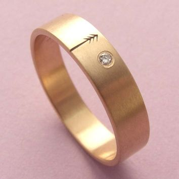 Wedding Band or Engagement Ring Rose Gold with Diamond
