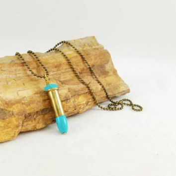 Bullet Shell Jewelry - 22 bullet shell and turquoise, gun girl, gun fashion, bullet jewelry, ammo, body novelties