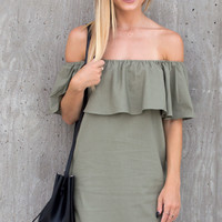 Yisa Ruffle Off Shoulder Dress - Olive