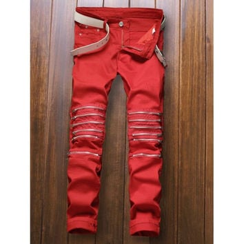Zippers Embellished Zipper-Up Jeans