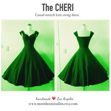 SALE Casual Emerald Forest Green CHERI Dress Christmas ROCKABILLY Stretch Knit Everyday Dress,  Pin Up 1950s Swing Dress