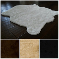White Faux Fur Rug 5' x 7'/ 3' x 5'/ many sizes/ black/ brown/ gray/ grey