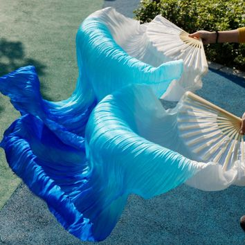 female high quality Chinese silk veils dance fans Pair of belly dancing fans cheap hot sale White+ sky blue +blue
