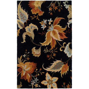 "Eden 87106 Floral Black-Gold Area Rug (2'6"" X 8')"