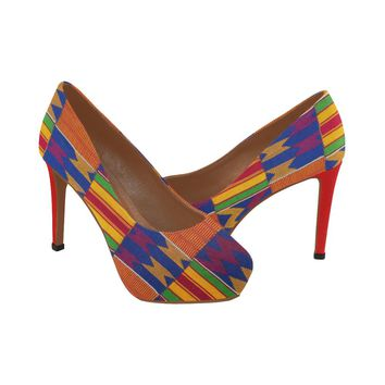 KENTE PRINT RED PUMPS #1