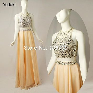2017 New Two Pieces Prom Dresses O Neck Yellow Peach Long Chiffon Party Gowns Crystal Beads Sheer Illusion Evening Prom JB845