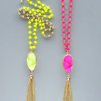 Neon Druzy Tassel Necklaces