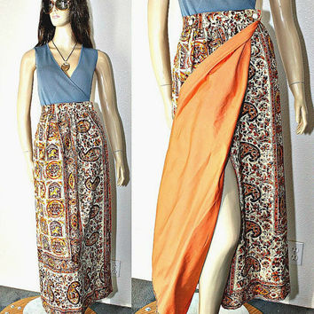 Vintage Hippie / BOHO Wrap Maxi Skirt - Block Print Paisley Cotton / Solid Orange Color - 70's Fashion - estate sale find