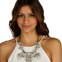 Ivory Marble Cluster Statement Necklace