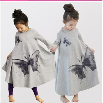 Free shipping 2014 hot sale ink print full butterfly long sleeve girl dress spring autumn kids clothes casual dress A line dress