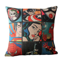 "18"" Pop Art Painting Pillow Case Vintage Linen Pillow Cushion Cover"