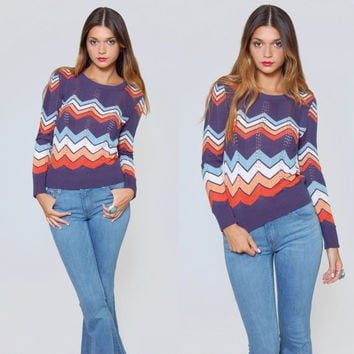 Vintage 70s ZIG ZAG Sweater Fitted Pull Over Hippie Sweater STRIPE Retro Boho Crop Knit Top