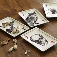 Ace of Skulls Appetizer Plates, Set of 4