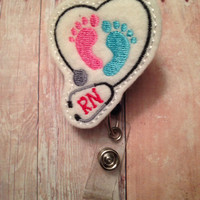 Labor & delivery, NICU, or pediatric nurse badge reel -- RN with stethoscope and pink and blue feet --