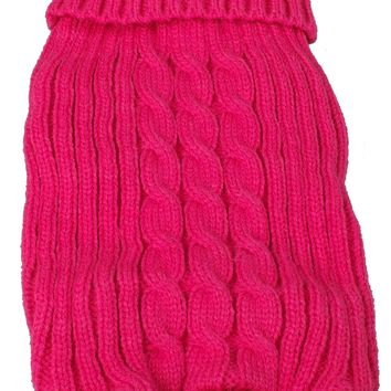 Heavy Cotton Rib-Collared Pet Sweater- Light Pink: X-Small