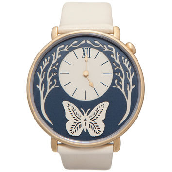 Dial - Yellow Gold and Cream Leather Butterfly Watch