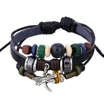 Dragonfly and beads leather charm bracelet