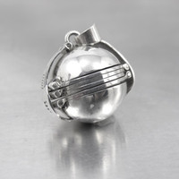 Sterling Photo Ball Locket Pendant, Sphere Globe Multi Six Picture Accordian Fold Out, Taxco Sterling Jewelry, 3/4""