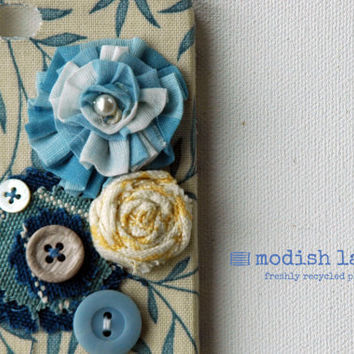 Handmade Recycled iPhone 4 Case, iPhone 4s Case, Blue Fabric Flowers