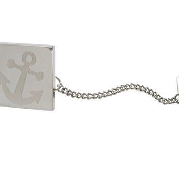 Silver Toned Etched Leaning Nautical Anchor Tie Tack