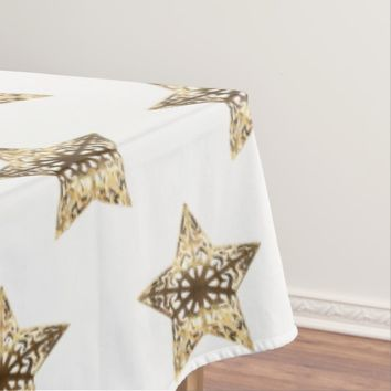 Elegant White and Gold Look Stars Pattern Chic Tablecloth