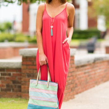 Good To Flow Maxi Dress, Coral