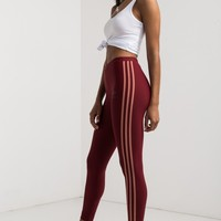 adidas Low Rise Three Stripe Stretchy Tights in Cburgu