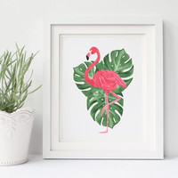 Pink Flamingo Print | Instant Download | Watercolor Print | Printable Art | Tropical Leaf Wall Decor | 8x10 Print Artwork