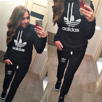 Casual Print Hoodie Top Sweater Pants Trousers Set Two-piece Sportswear