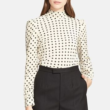 Women's RED Valentino Polka Dot Bow Silk Blouse,