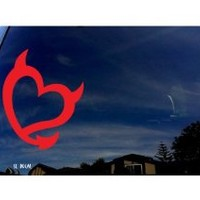 "Devil Heart Red Car Sticker Decal 5"" Tall"