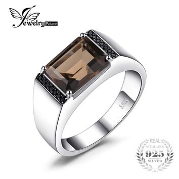 Jewelrypalace Men's Emerald Cut 4ct Natural Smoky Quartz Black Spinel Anniversary Wedding Ring 925 Sterling Silver Fine Jewelry