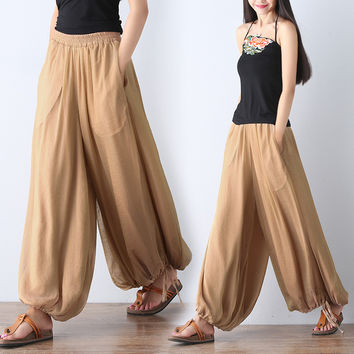 Mori girl literary vintage palazzo pants women casual loose silk bloomers wide leg pants pantalon femme