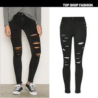 Hot Sale Women Black Skinny Jeans 2017 Spring Plus size Zipper Pockets Cut Hole Ripped Pencil Jeans Woman Femme Stretch Pants