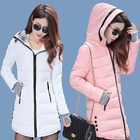 2017 Long Section Cotton Clothing Winter Coat Women Thick Fashion Hooded Down Jacket Women Slim Jacket Winter Jacket Women