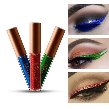 ISHOWTIENDA Beauty Metallic Shiny Smoky Eyes Eyeshadow Waterproof Glitter Liquid Eyeliner pallet shadows makeup pallete novo