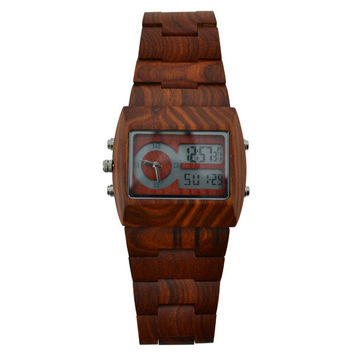 Men Wood Watch Quartz Analog Digital Double Movement.