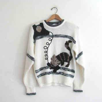 80s cat on the telephone sweater. white kitty cat novelty sweater.