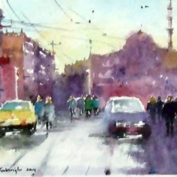 Original Watercolor Painting, City Scape, Istanbul Turkey, City, Original Painting
