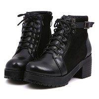 Oasap Lace-up Chunky Black Boots 75% off retail