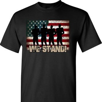We Stand on a Black T Shirt