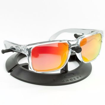 OAKLEY HOLBROOK POLISHED CLEAR FRAME / REVANT FIRE RED POLARIZED CUSTOM LENSES