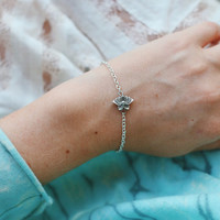 Silver Plated Lotus Flower Bracelet