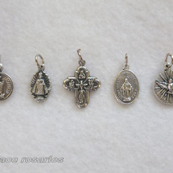 5 Assorted Catholic Religious Miraculous Medal Cross St Michael Infant Prague Trinity Bracelet Charms Reversible Silver Finished Metal Italy