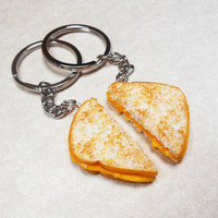 Polymer Clay Melty Grilled Cheese Best Friend Bff Key ring Key Chains