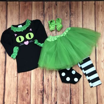 RTS-Girls Cat Halloween 3pc Costume or Outfit, Halloween TuTu Set