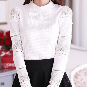 S-XXL Blusa Renda Elegant Lace Crochet Women Blouse Hollow Out Long Sleeve White Blouse Shirt  Casual Formal Tops T5616
